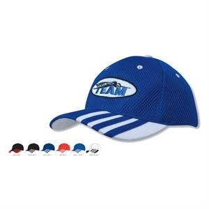 Sandwich Mesh Cap w/Striping on Visor (Embroidered)