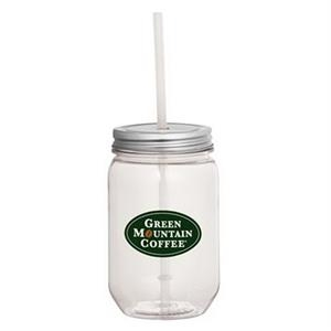 Mason Jar 22oz with Silver Tin Lid