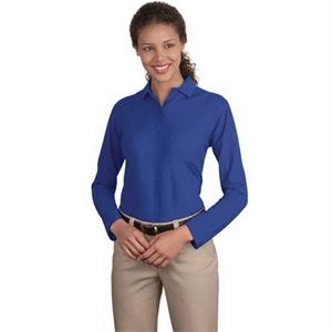Port Authority Ladies Silk Touch Long Sleeve Polo.