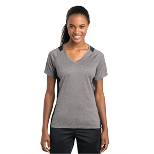 Sport-Tek Ladies Heather Colorblock Contender V-Neck Tee.