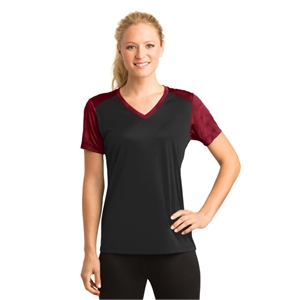Sport-Tek Ladies CamoHex Colorblock V-Neck Tee.