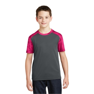 Sport-Tek Youth CamoHex Colorblock Tee.
