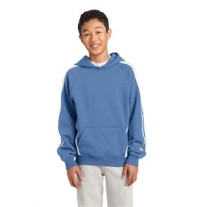 Sport-Tek Youth Sleeve Stripe Pullover Hooded Sweatshirt.