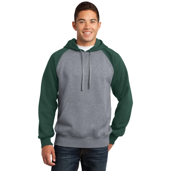 Sport-Tek Raglan Colorblock Pullover Hooded Sweatshirt.