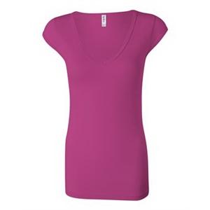 Women's Cap Sleeve Sheer Mini Rib V-neck Tee