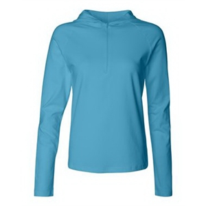Women's Cotton Spandex Half-Zip Hooded Pullover