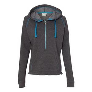 Women's Half-Zip Triblend Hooded Pullover Sweatshirt