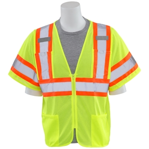 Class 3 Contrasting Trim Mesh Safety Vest