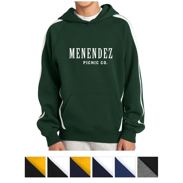 Sport-Tek Youth Sleeve Stripe Pullover Hooded Sweatshirt