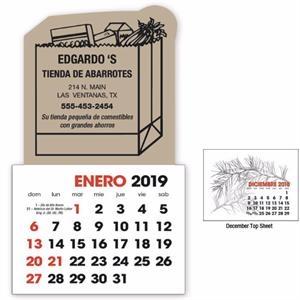 2-Color Stick Up Grid 2019 Calendar - 13-Month (Spanish)