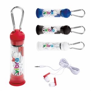 Earbuds in Phone Stand Case with Carabiner