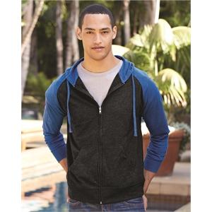 Lightweight Jersey Raglan Hooded Full-Zip T-Shirt