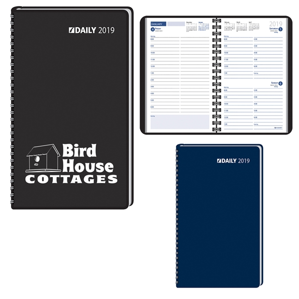 2019 Ruled Desk Planner, 1 Day Per Page Wired to Cover
