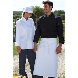 10 Pearl Button Chef Coat - BLACK 2XL-3XL