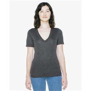 American Apparel® Unisex Tri-Blend Short-Sleeve Deep V-Ne...