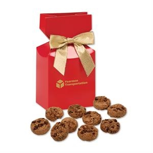 Bite-Sized Chocolate Chip Cookies in Red Gift Box