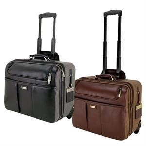Palermo Brown Napa Leather/Canvas Trolley Case