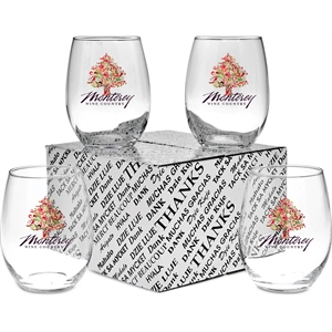 Stemless White Wine Thank You Set