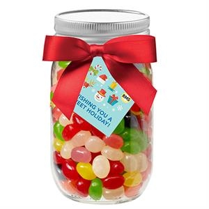 16 oz Glass Mason Jar With Assorted Jelly Beans