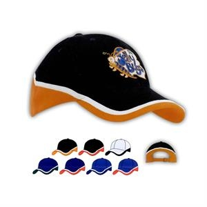 Tri-Color Brushed Heavy Cotton Cap (Embroidered)