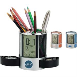 Impressa Clock/Organizer with Mesh Pen Cup