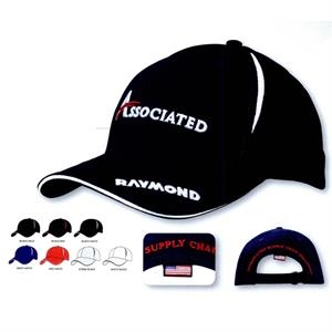 Brushed Cotton Cap w/Crown Inserts & Sandwich (Embroidered)