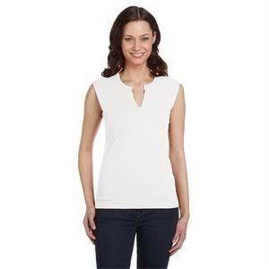 Ladies' Cotton/Spandex Slit-V Raglan T-Shirt